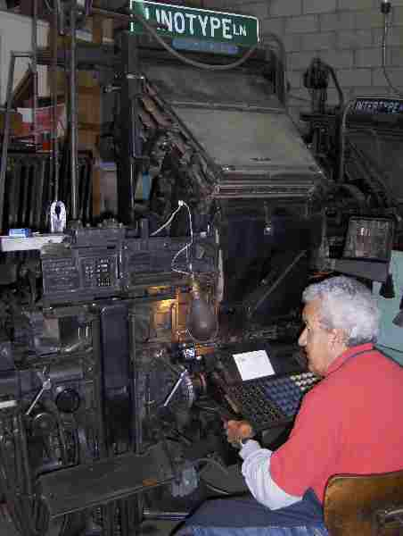 Luis L. Garcia at his linotype