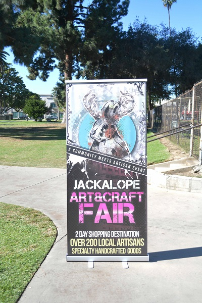 Jackalope Art and Craft Fair sign outside Pasadena's Central Park