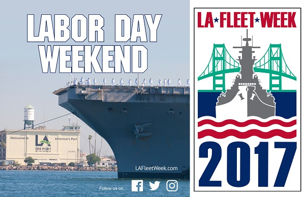 Bow of warship and L.A. Harbor graphic with Vincent Thomas bridge