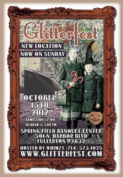 poster advertising Glitterfest with two sisters in witch'shat and crown and ship in background