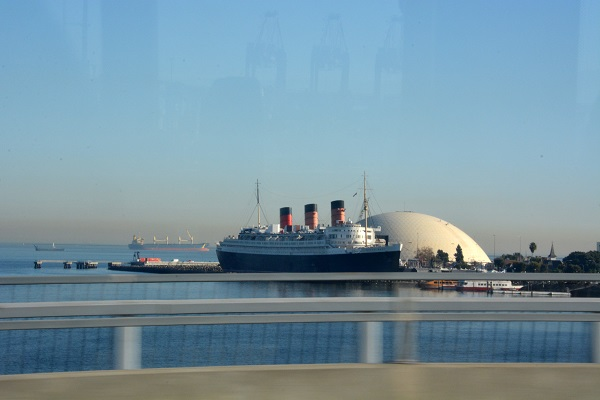 Queen Mary in Long Beach harbor next to Spruce Goose dome